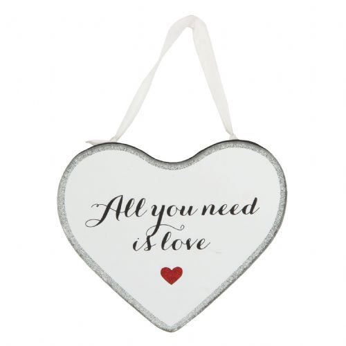 'All You Need Is Love' Mirrored Hanging Plaque Valentine, Wedding and Anniversary Gift Ruby Wedding Gift